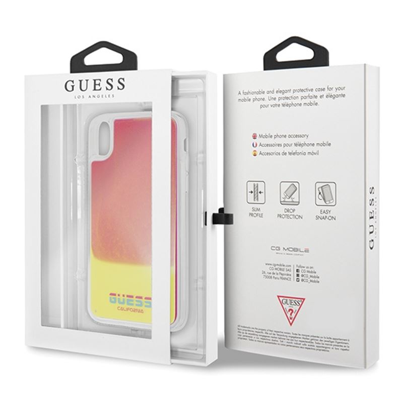 Guess California - Etui iPhone Xs / X (Glow in the Dark Sand/Pink)