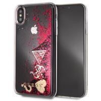 Guess Liquid Glitter Hearts - Etui iPhone Xs / X (malinowy)