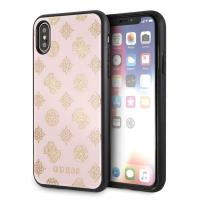 Guess Double Layer Glitter Case Peony G - Etui iPhone Xs / X (Pale Pink)