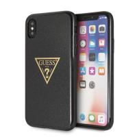Guess Solid Glitter Triangle - Etui iPhone Xs / X (Black)