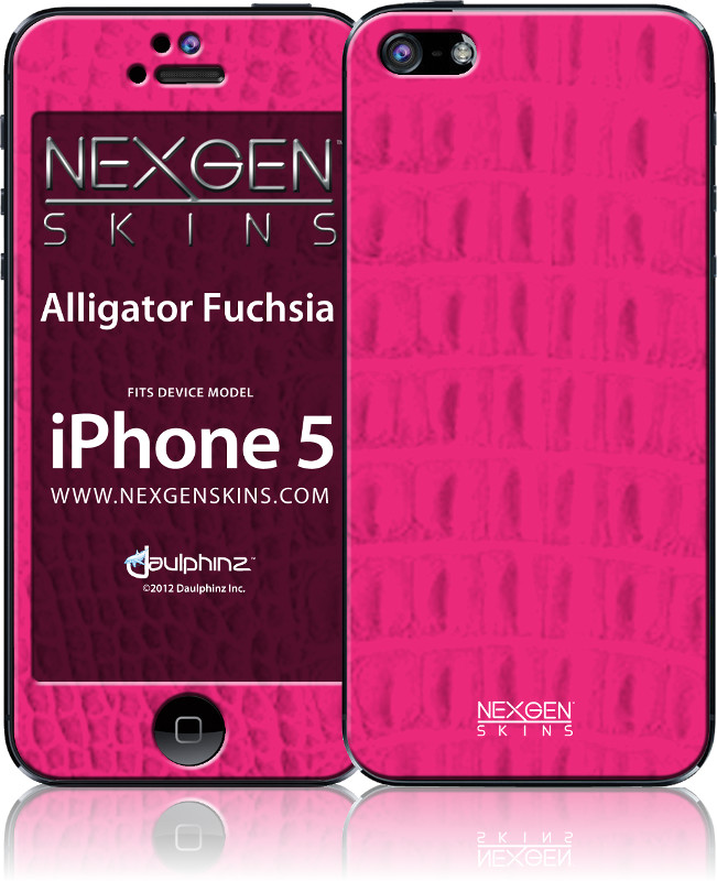 Nexgen Skins - Zestaw skórek na obudowę z efektem 3D iPhone SE / iPhone 5s / iPhone 5 (Alligator Fuchsia 3D)