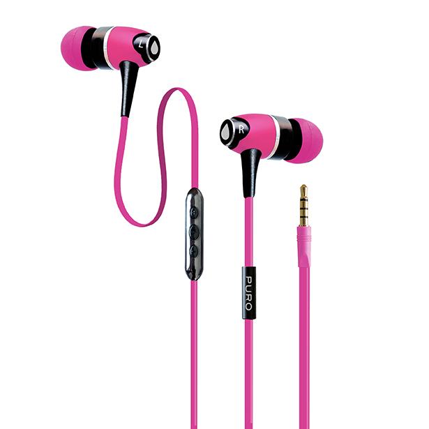 PURO IPHF12 - Słuchawki z płaskim kablem (różowy)