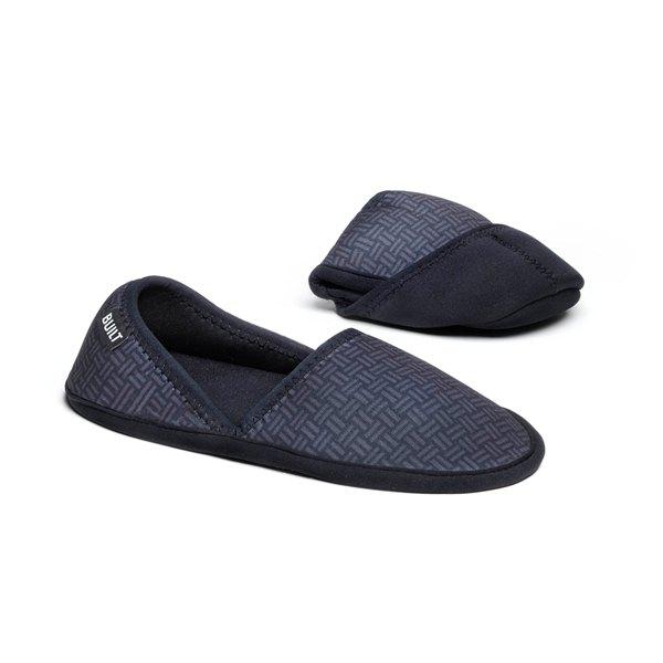 BUILT Travel Slippers Small - Składane kapcie podróżne z etui rozmiar 35-37 (Gridlock)