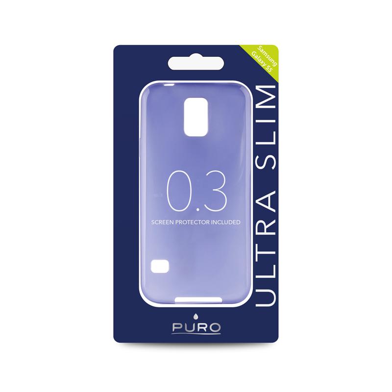 """PURO Ultra Slim """"0.3"""" Cover - Zestaw etui + folia na ekran Samsung Galaxy S5/S5 Neo (niebieski)"""
