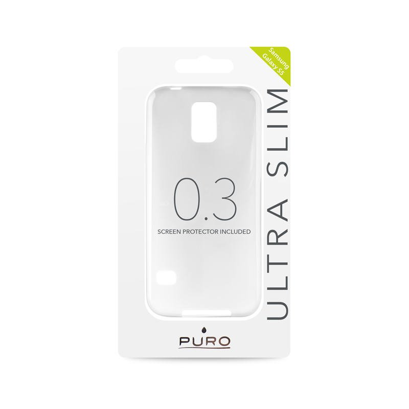 """PURO Ultra Slim """"0.3"""" Cover - Zestaw etui + folia na ekran Samsung Galaxy S5/S5 Neo (półprzezroczysty)"""