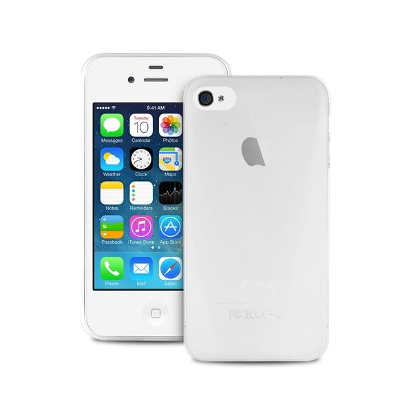 """PURO Ultra Slim """"0.3"""" Cover - Zestaw etui + folia na ekran iPhone 4s / iPhone 4 (półprzezroczysty)"""