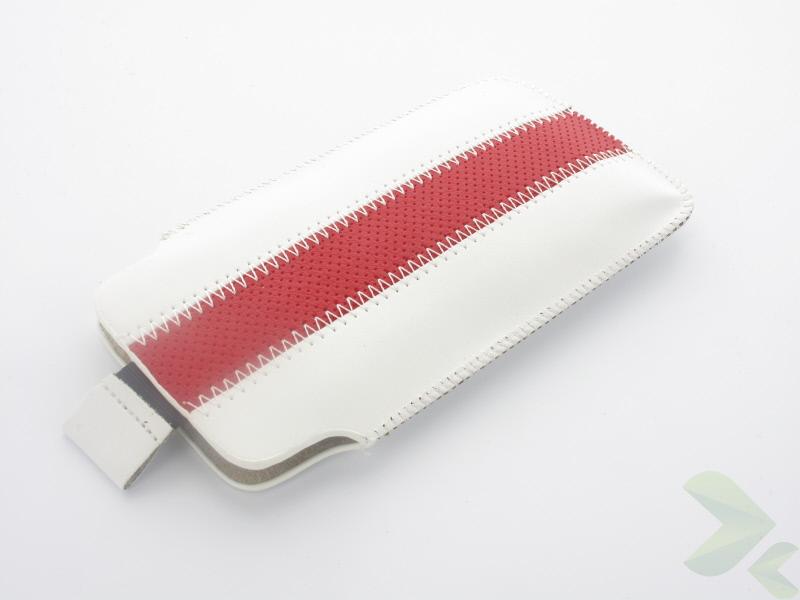 Geffy - Etui uniwersalne Tel 124x63 pull-up eko-skóra white/red
