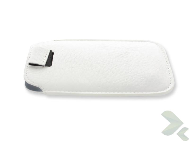 Geffy - Etui uniwersalne Tel 125x63 pull-up eko-skóra white