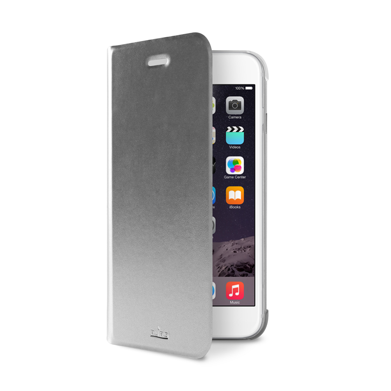 PURO Booklet Wallet Case - Etui iPhone 6s / iPhone 6 z kieszenią na kartę + stand up (srebrny)
