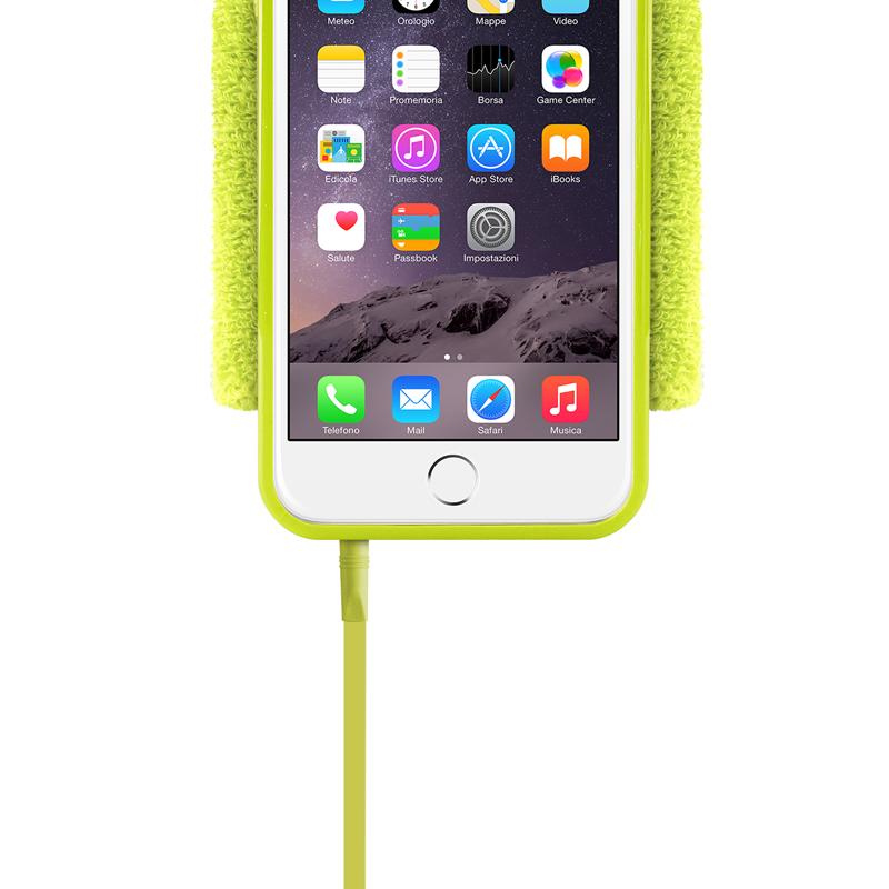 PURO Running Band - Frotka do biegania z etui iPhone 6s / iPhone 6 z key pocket (limonkowy)