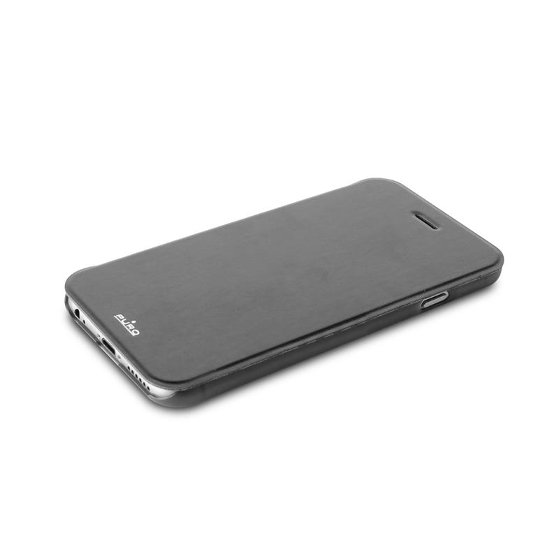 PURO Booklet Wallet Case - Etui iPhone 6s Plus / iPhone 6 Plus z kieszenią na kartę (czarny/przezroczysty tył)