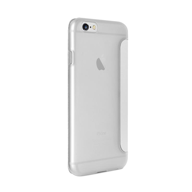 PURO Booklet Wallet Case - Etui iPhone 6s Plus / iPhone 6 Plus z kieszenią na kartę (biały/przezroczysty tył)