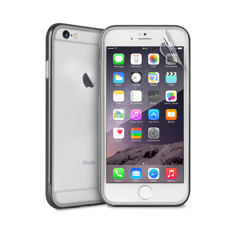 PURO Bumper Cover - Etui iPhone 6s Plus / iPhone 6 Plus z folią na ekran w zestawie (czarny)