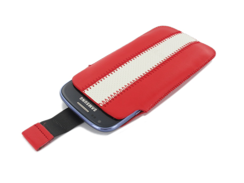 Geffy - Etui uniwersalne Tel 124x63 pull-up eko-skóra red/white