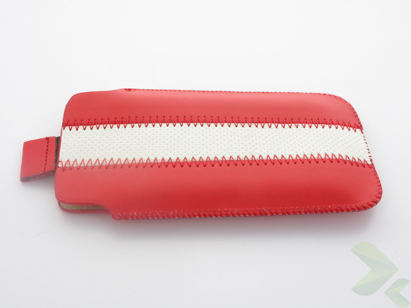 Geffy - Etui uniwersalne Tel 124x63 pull-up eko-skóra red/white