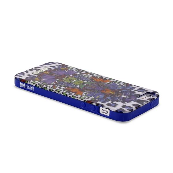 JUST CAVALLI Leopard Flower - Etui iPhone SE / iPhone 5s / iPhone 5 + tapeta QR (fioletowy)
