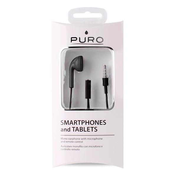 PURO Mono - Słuchawka z mikrofonem i pilotem (czarny)