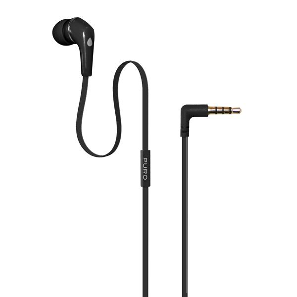 PURO Mono - Słuchawka z płaskim kablem + mikrofon i pilot (czarny)