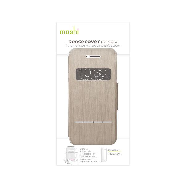 Moshi SenseCover - Etui z klapką dotykową iPhone SE / iPhone 5s / iPhone 5 + folia ochronna na tył (titanium)