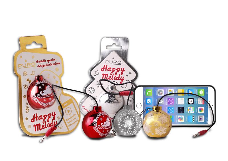 PURO Christmas Ball - Przenośny głośnik (złoty, Xmas tree pack)
