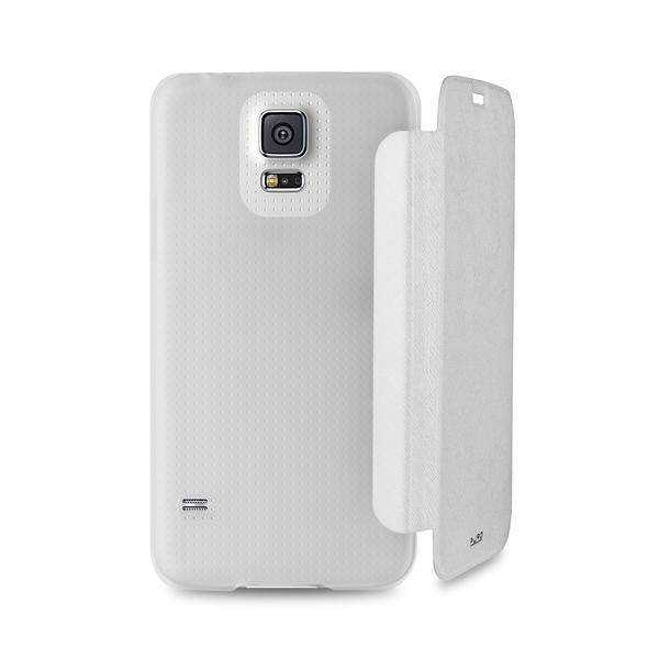 PURO Booklet Wallet Case - Etui Samsung Galaxy S5/S5 Neo z kieszenią na kartę (biały/przezroczysty tył)