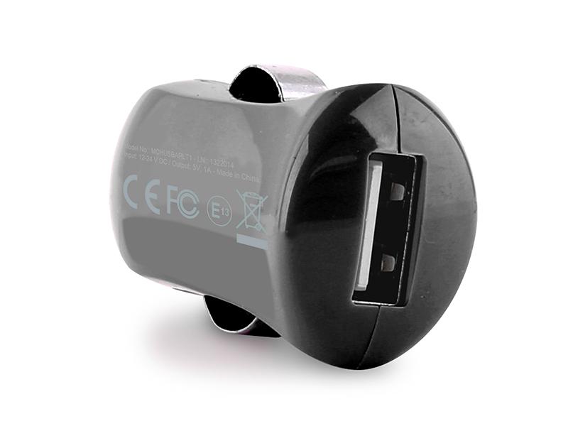 PURO Mini ładowarka samochodowa Apple 1A z płaskim, odpinanym kablem Lightning MFi (czarny)