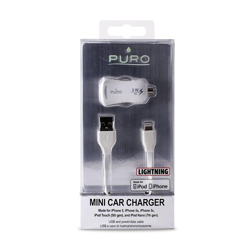 PURO Mini ładowarka samochodowa Apple 1A z płaskim, odpinanym kablem Lightning MFi (biały)