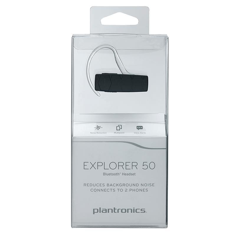 Plantronics Explorer 50 - Uniwersalna słuchawka Bluetooth obsługująca do 2 urządzeń jednocześnie (czarny)