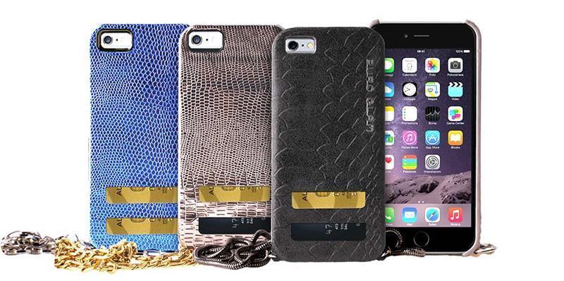 PURO GLAM Chain - Etui iPhone 6 z 2 kieszeniami na karty w/silver chain (czarny)