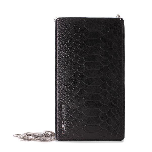 PURO GLAM Chain - Etui uniwersalne do smartfonów z 2 kieszeniami na karty w/sliver chain XXL (czarny)