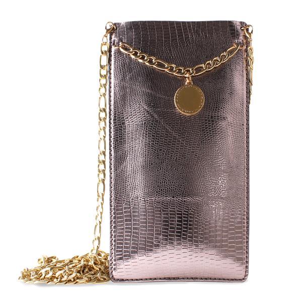 PURO GLAM Chain - Etui uniwersalne do smartfonów z 2 kieszeniami na karty w/gold chain XXL (brązowy)