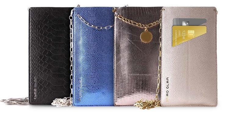 PURO GLAM Chain - Etui uniwersalne do smartfonów z 2 kieszeniami na karty w/gold chain XL (perłowy)