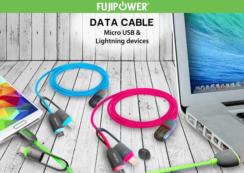 FUJIPOWER Kabel połączeniowy Micro USB & Lightning 1MT 1A (czarny)
