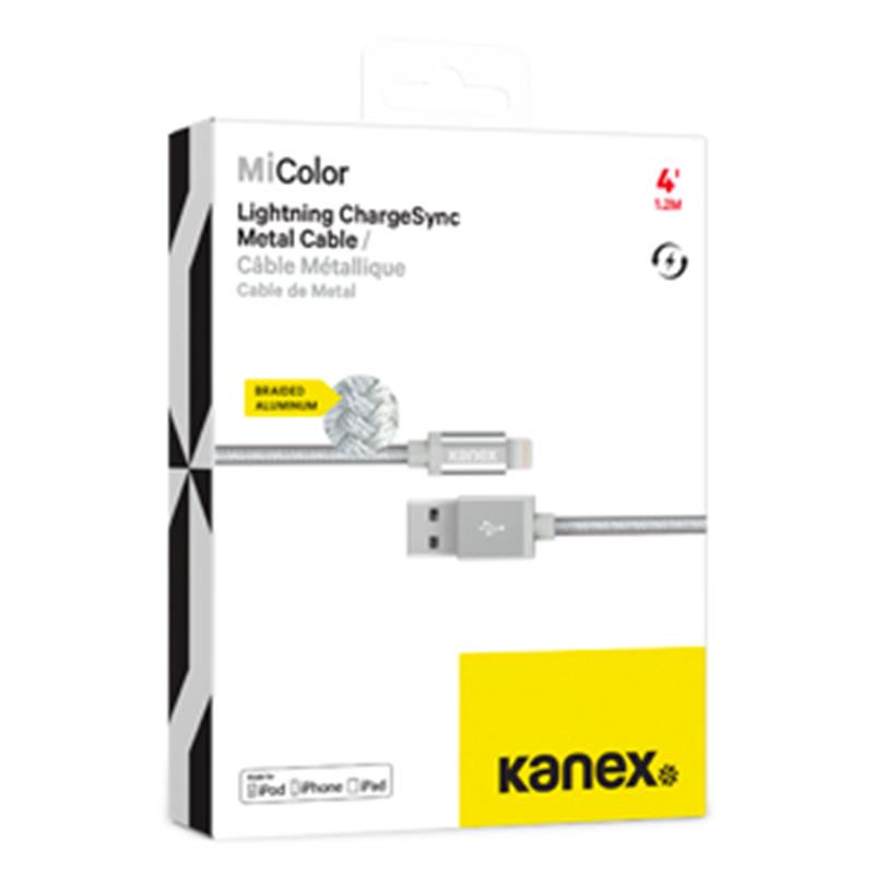 Kanex MiColor Premium Lightning - Kabel MFi z Lightning do USB 1,2 m (Silver)