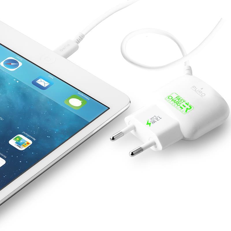 PURO Mini Travel Fast Charger- Ładowarka Apple 2.4 A złącze Lightning MFi (biały)