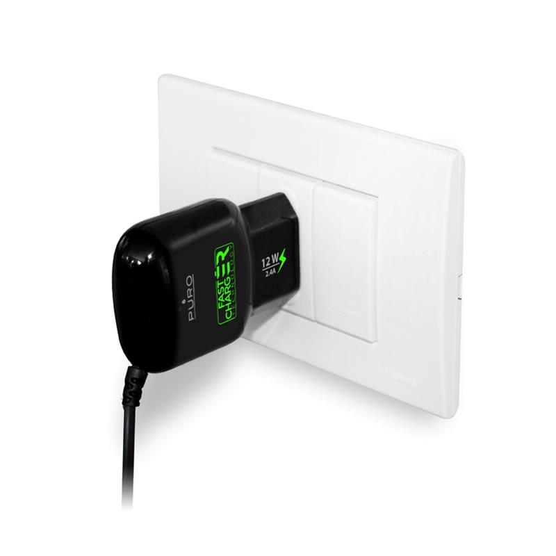 PURO Mini Travel Fast Charger - Przenośna ładowarka sieciowa z kablem Micro USB 2.4 A (czarny)