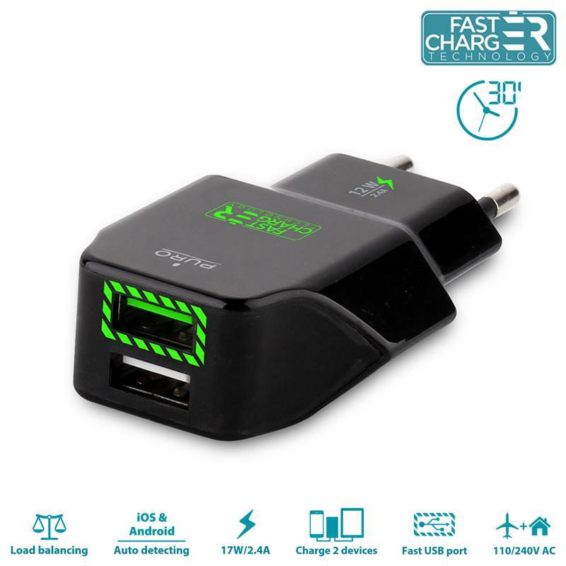 PURO Travel Fast Charger - Przenośna ładowarka sieciowa 2 x USB, 2.4 A z niebieskim podświetleniem LED (czarny)
