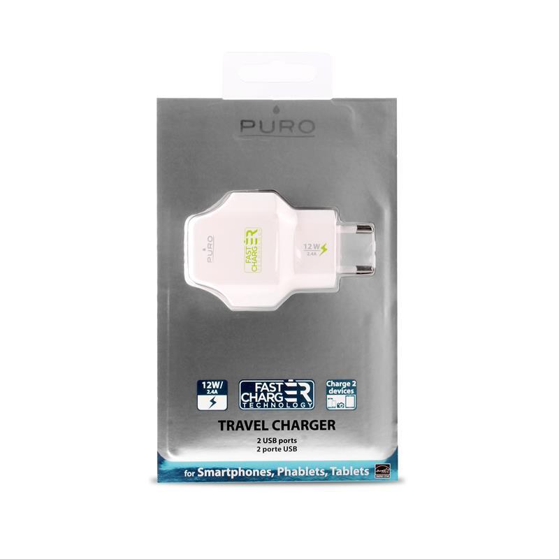 PURO Travel Fast Charger - Przenośna ładowarka sieciowa 2 x USB, 2.4 A z niebieskim podświetleniem LED (biały)