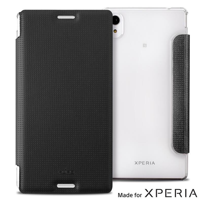 PURO Booklet Wallet Case - Etui Xperia M4 AQUA z kieszenią na kartę (czarny/przezroczysty tył)