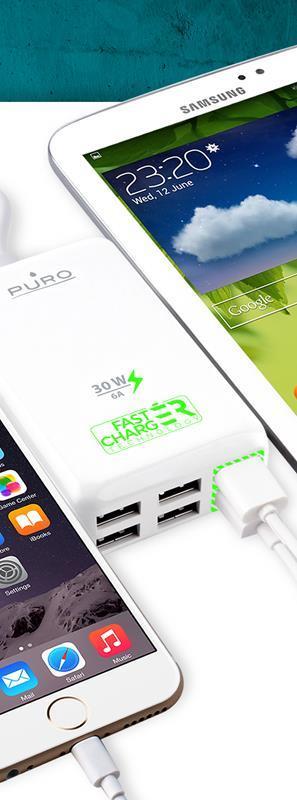 PURO Fast Charging Station - Uniwersalna sieciowa stacja ładująca 6 A, 6 x USB (biały)