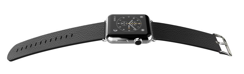 X-Doria Lux Band - Skórzany pasek do Apple Watch 38mm (czarny)