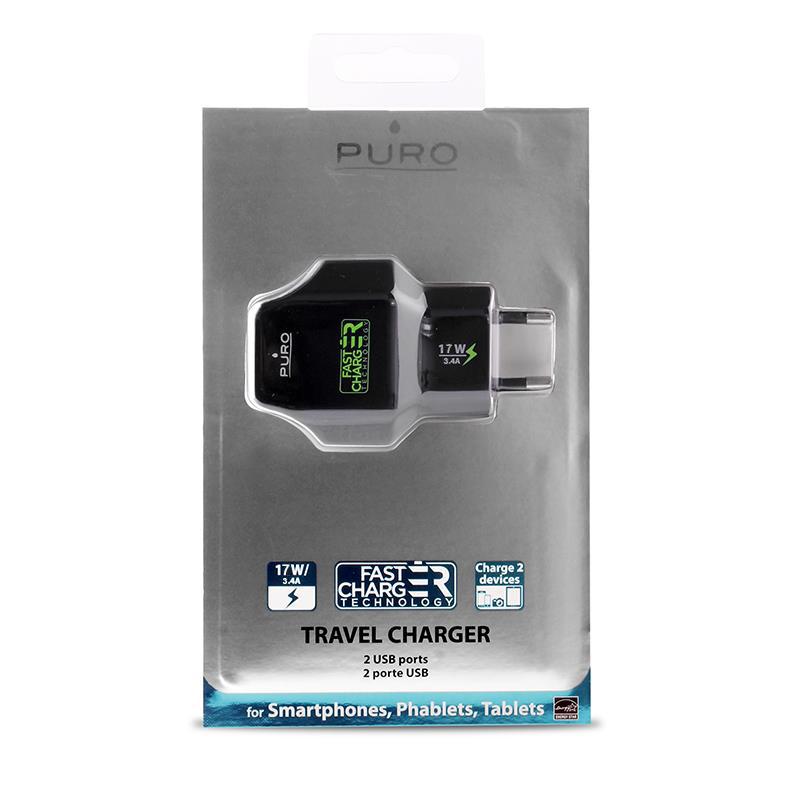 PURO Travel Fast Charger - Przenośna ładowarka sieciowa 2 x USB, 3.4 A z niebieskim podświetleniem LED (czarny)