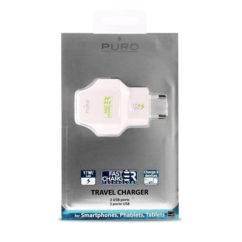 PURO Travel Fast Charger - Przenośna ładowarka sieciowa 2 x USB, 3.4 A z niebieskim podświetleniem LED (biały)