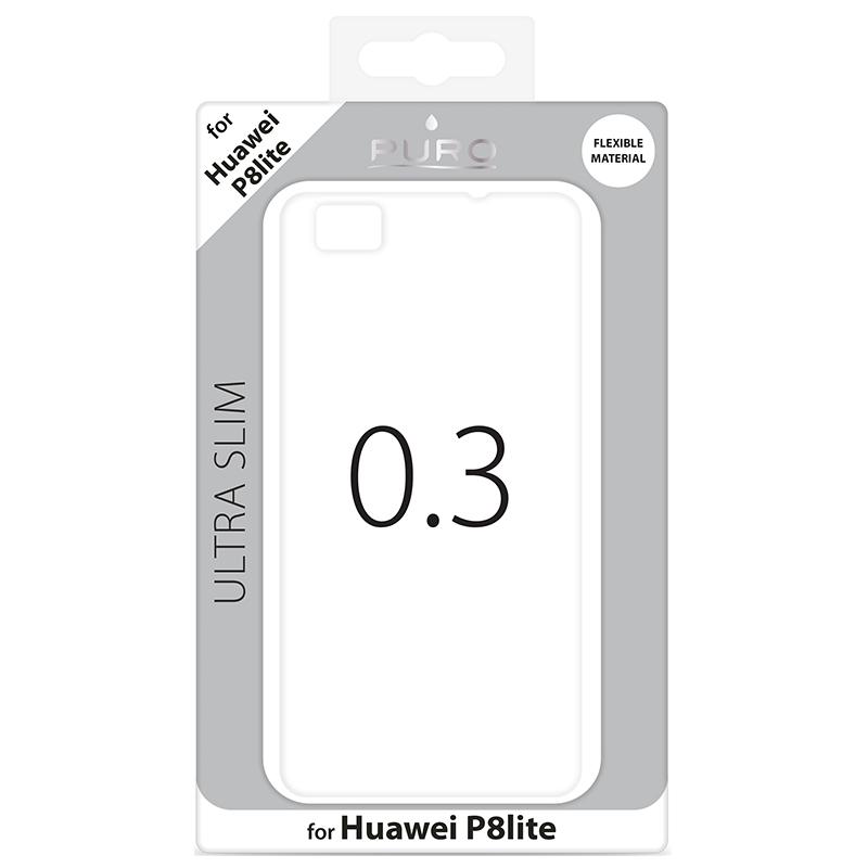 """PURO Ultra Slim """"0.3"""" Cover - Zestaw etui + folia na ekran Huawei P8 Lite (półprzezroczysty)"""