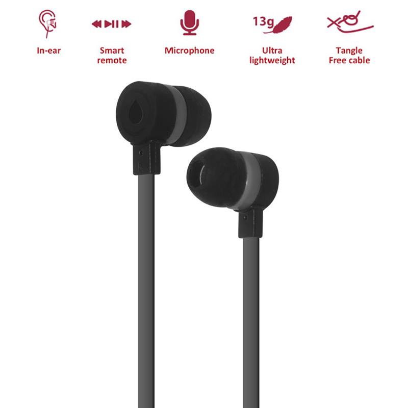 PURO IPHF16 - Słuchawki z płaskim kablem z mikrofonem i pilotem (czarny)
