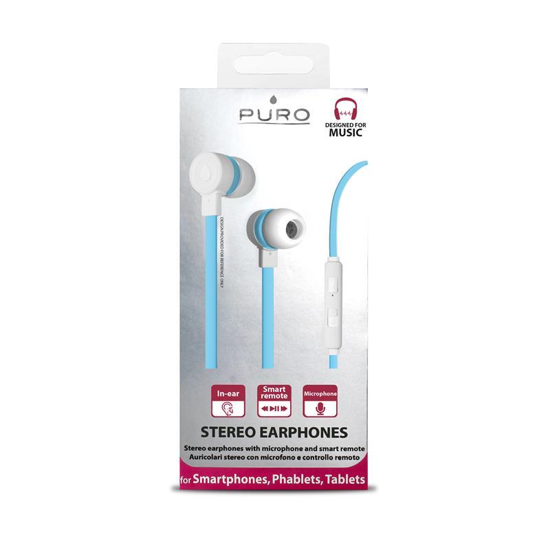 PURO IPHF16 - Słuchawki z płaskim kablem z mikrofonem i pilotem (niebieski)