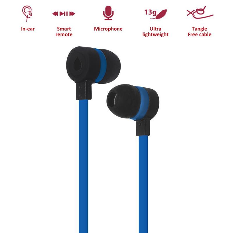 PURO IPHF16 - Słuchawki z płaskim kablem z mikrofonem i pilotem (granatowy)