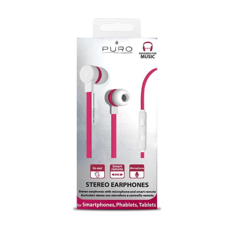 PURO IPHF16 - Słuchawki z płaskim kablem z mikrofonem i pilotem (różowy)