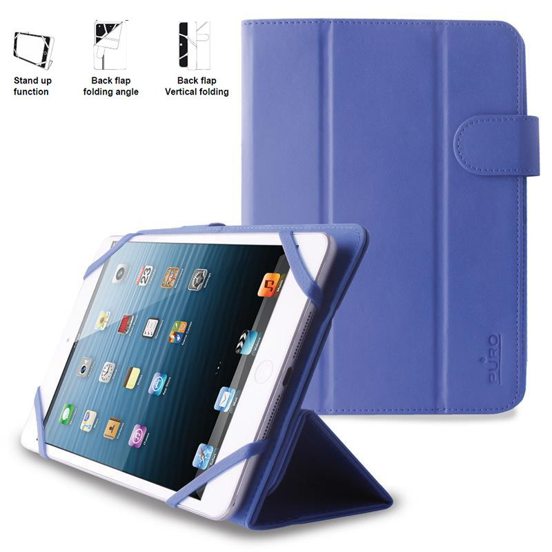 PURO Universal Booklet Easy - Etui tablet 7'' w/Folding back + stand up + Magnetic Closure (granatowy)
