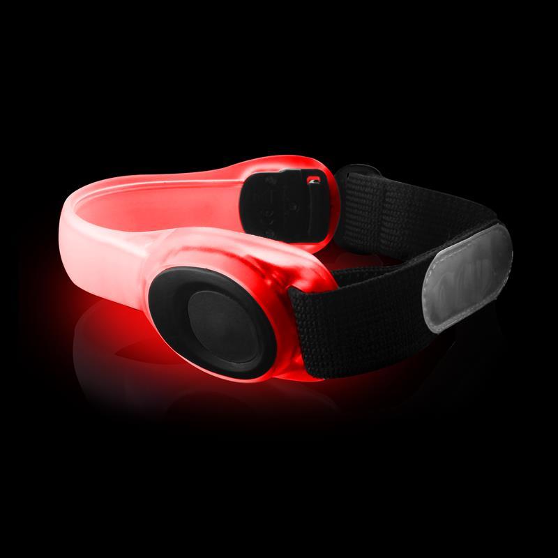 PURO Safety LED Armband - Ostrzegawcza sportowa opaska na ramię z czerwonym światłem LED